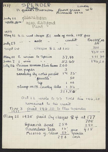 Stephen Spender 1937 – 1938 card