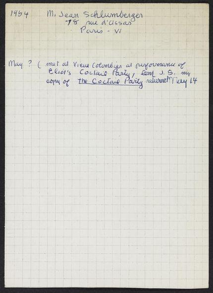 Jean Schlumberger 1954 card
