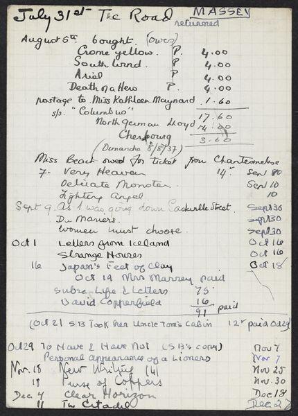 Adelaide W. Massey 1937 card
