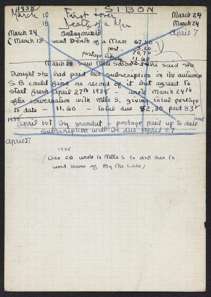 Marcelle Sibon 1938 card (large view)