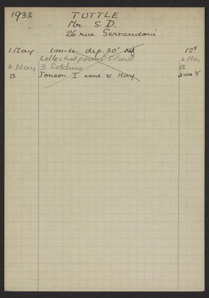Stephen D. Tuttle 1933 card
