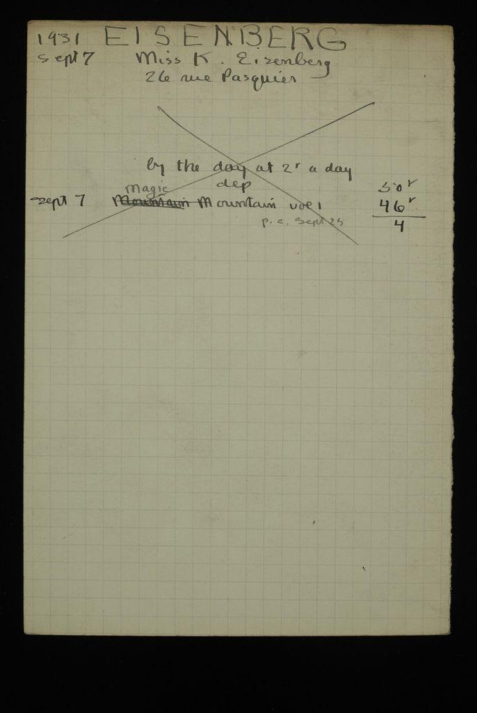 K. Eisenberg 1931 card (large view)