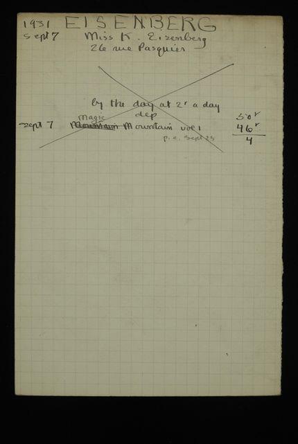 K. Eisenberg 1931 card