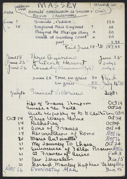 Adelaide W. Massey 1940 – 1941 card