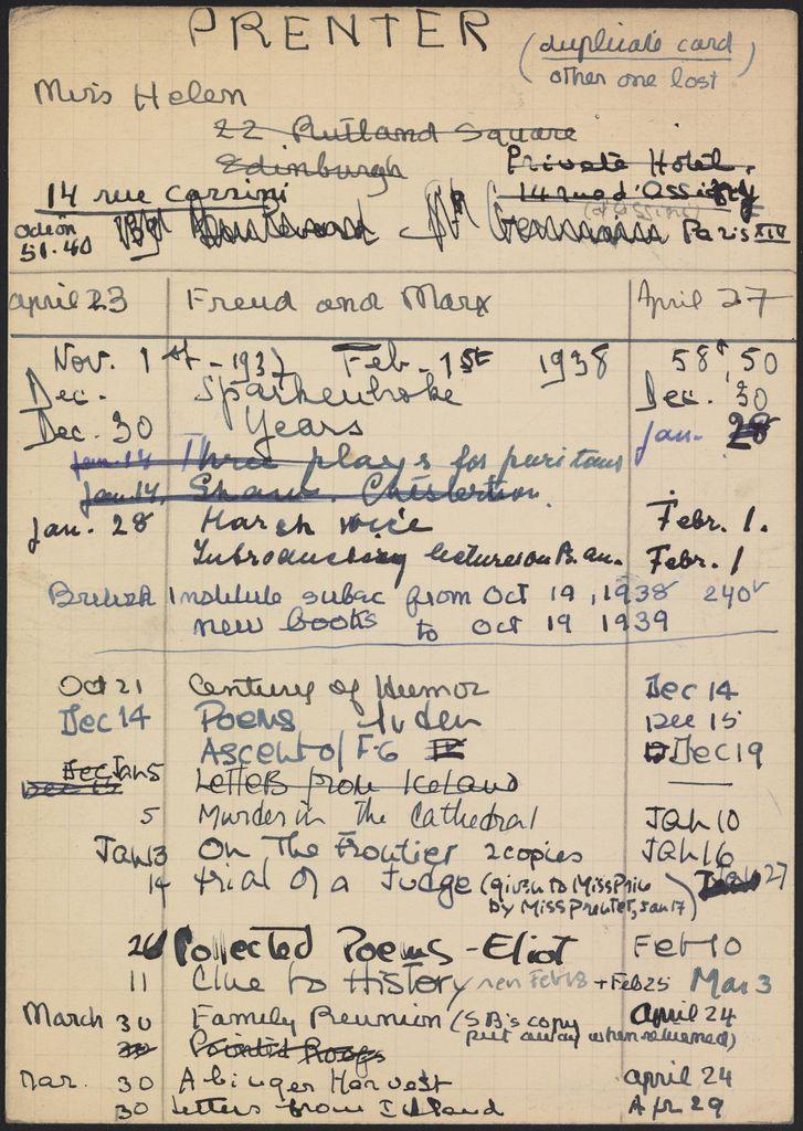 Helen Prenter 1937 – 1939 card (large view)