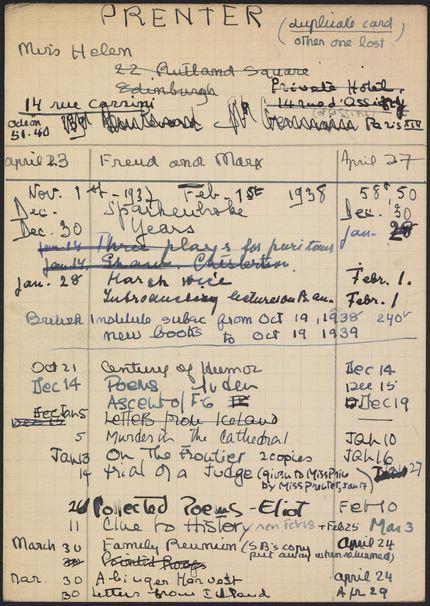 Helen Prenter 1937 – 1939 card