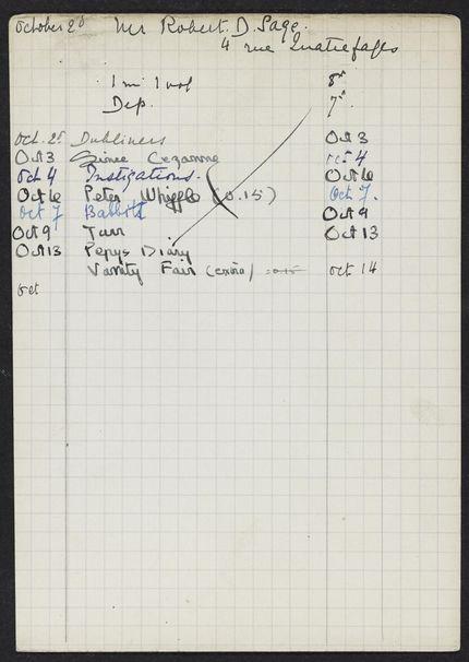 Robert D. Sage 1922 card