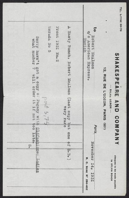 Robert McAlmon 1931 card