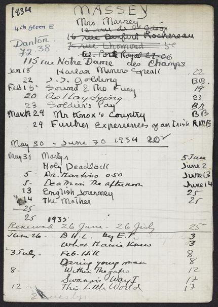 Adelaide W. Massey 1934 – 1935 card