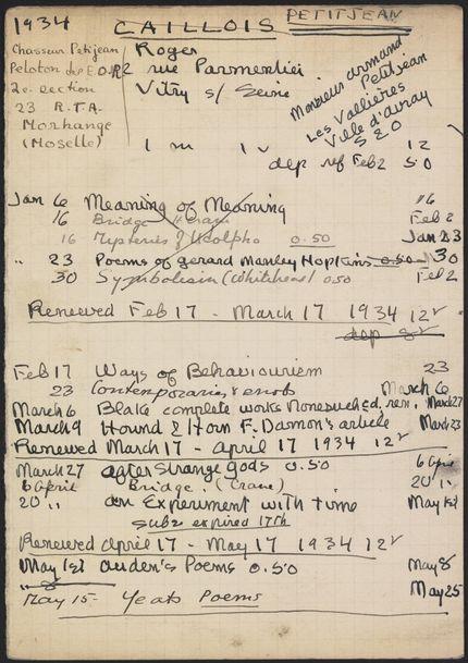 Roger Caillois 1934 card
