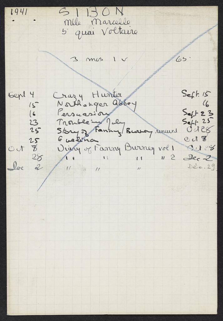Marcelle Sibon 1941 card (large view)