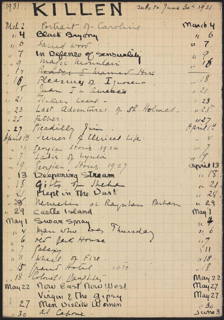 Alice M. Killen 1931 card (large view)