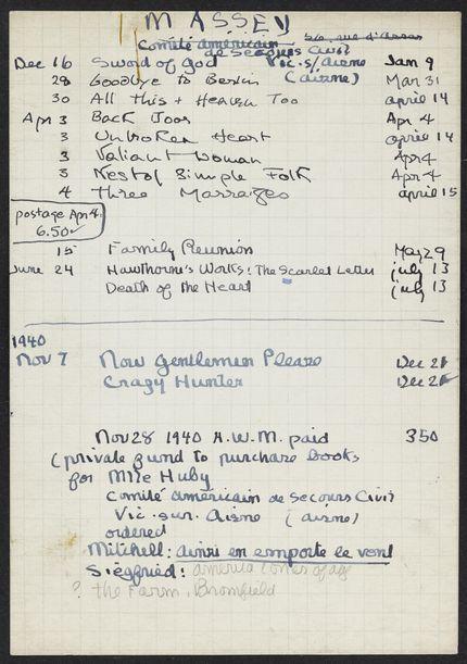 Adelaide W. Massey 1939 – 1940 card