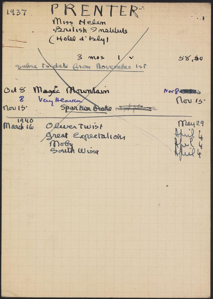 Helen Prenter 1937 – 1940 card (large view)