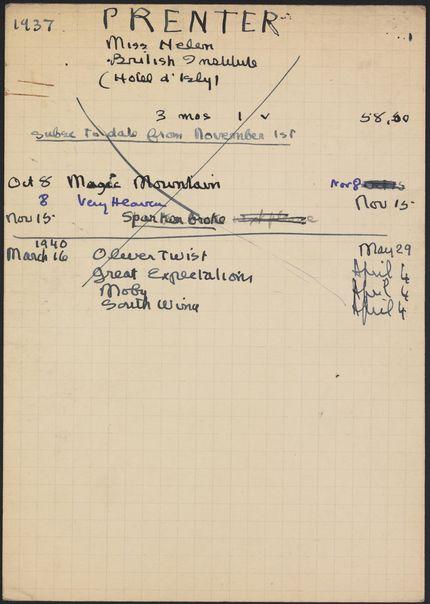 Helen Prenter 1937 – 1940 card