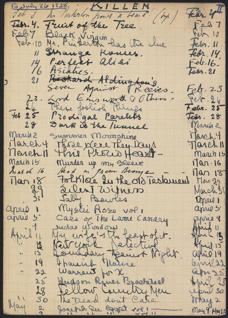 Alice M. Killen 1938 card (large view)
