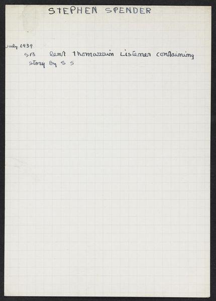 Stephen Spender 1939 card