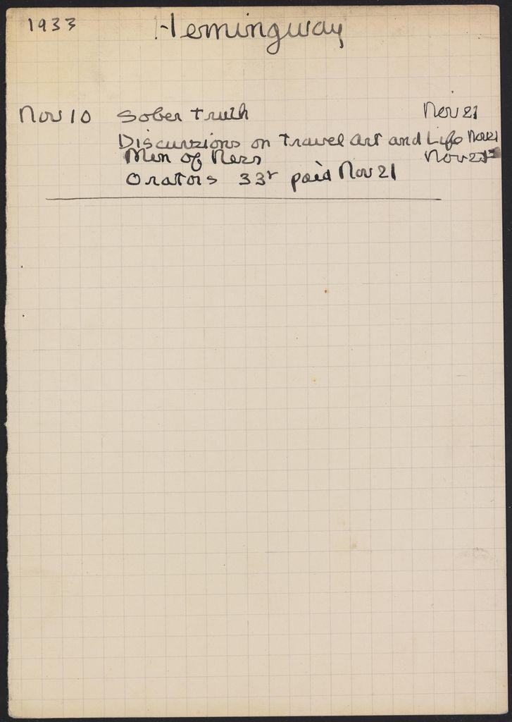 Ernest Hemingway 1933 card (large view)