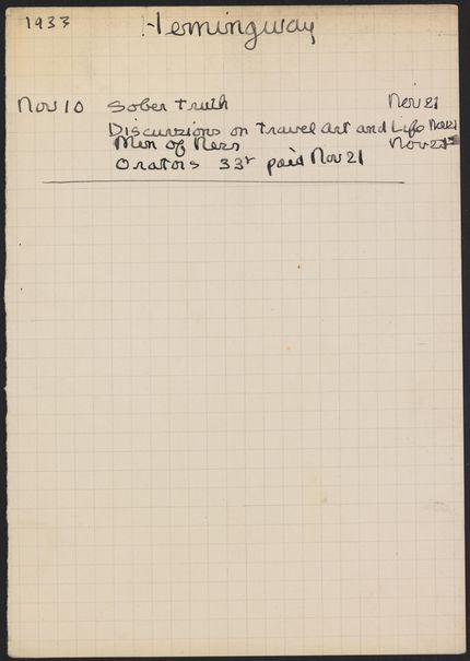 Ernest Hemingway 1933 card