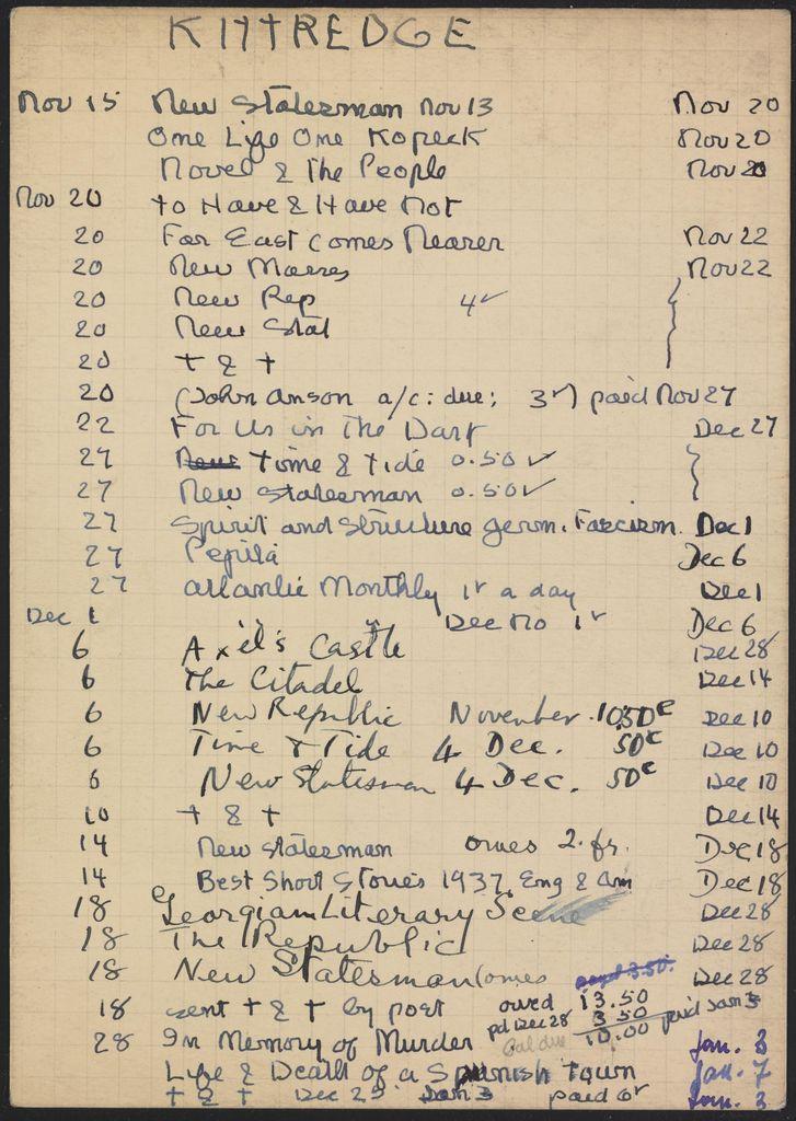 Eleanor Kittredge 1937 – 1938 card (large view)
