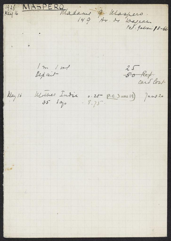Cécile Sophie Blanche Maspero 1928 card (large view)