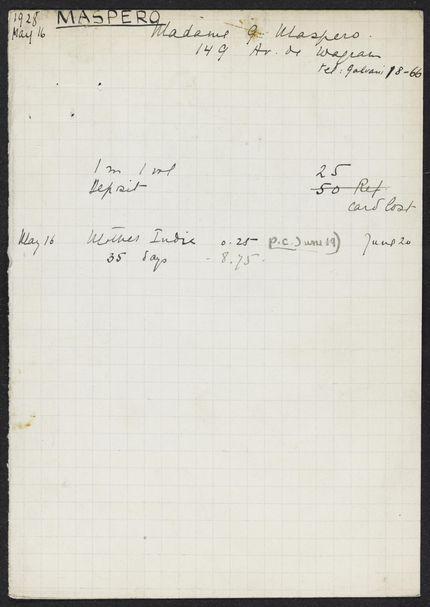 Cécile Sophie Blanche Maspero 1928 card