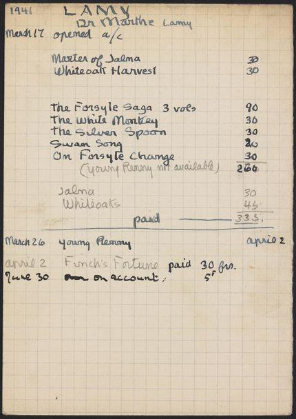 Marthe Lamy 1941 card