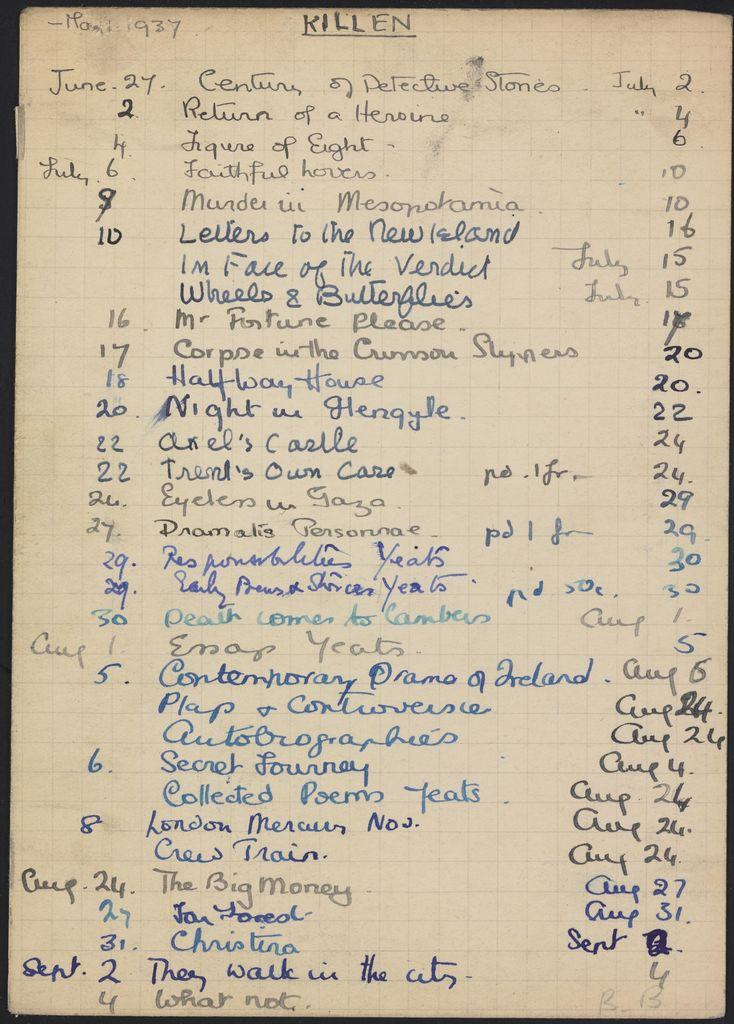 Alice M. Killen 1936 card (large view)