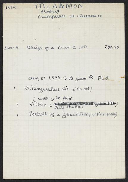 Robert McAlmon 1939 – 1940 card