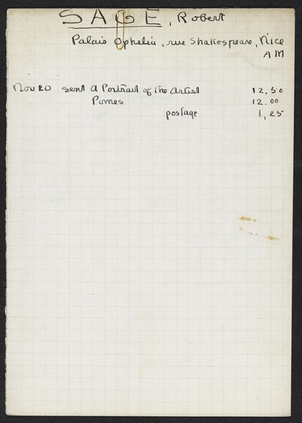 Robert D. Sage 1930 card