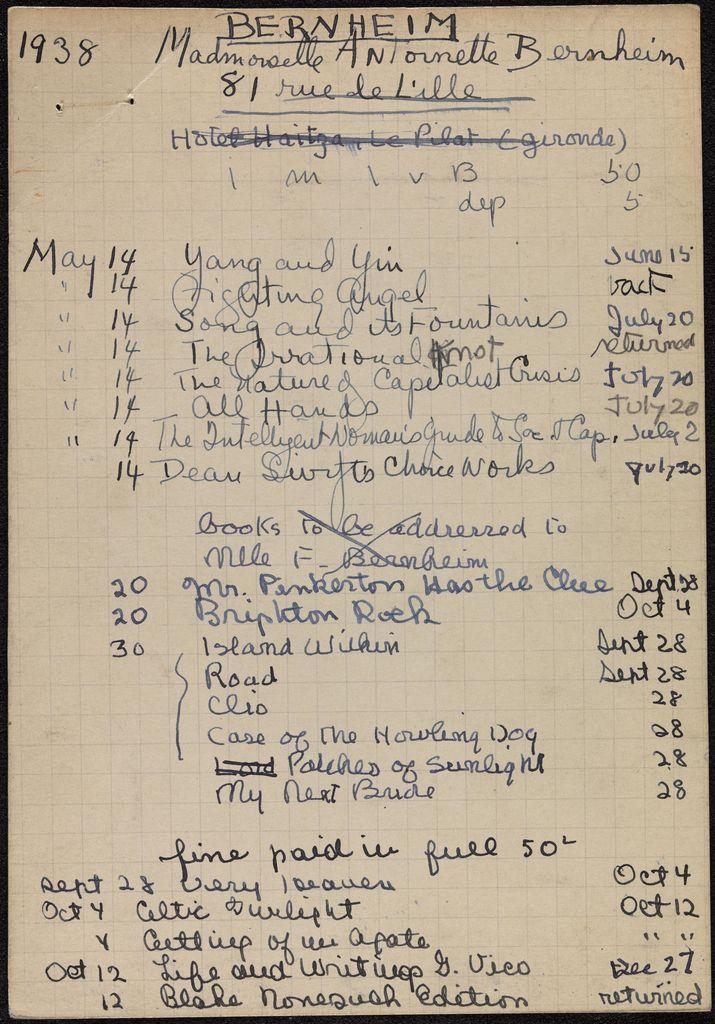 Antoinette Bernheim 1938 card (large view)