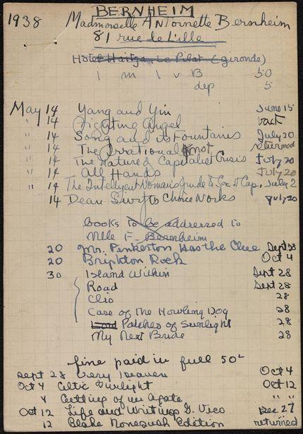 Antoinette Bernheim 1938 card