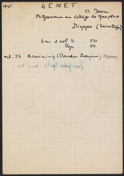 Jean Genet 1941 – 1942 card