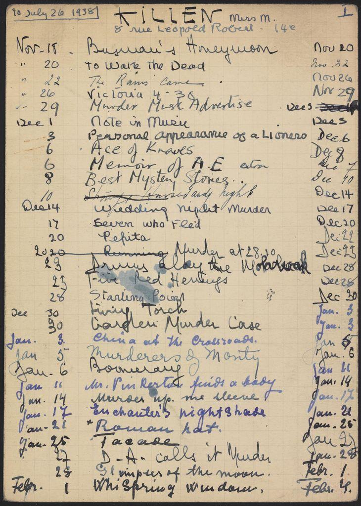 Alice M. Killen 1937 – 1938 card (large view)