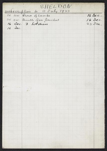 James S. Sheldon 1932 – 1933 card
