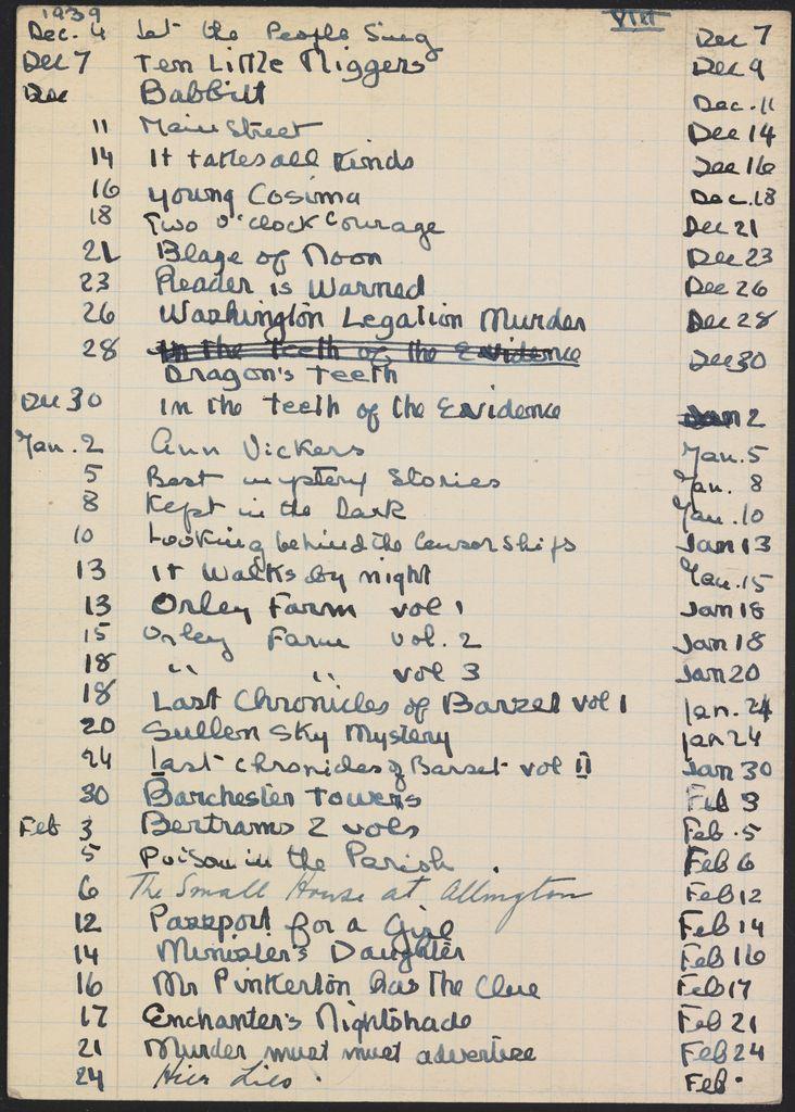 Alice M. Killen 1939 – 1940 card (large view)