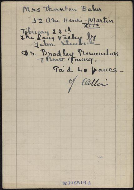 Mrs. Thornton Baker 1939 card