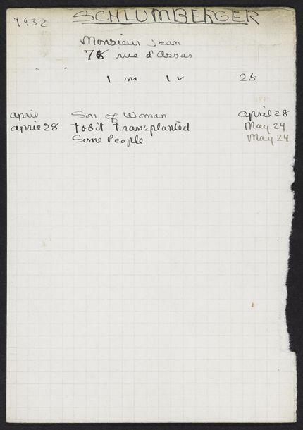 Jean Schlumberger 1932 card