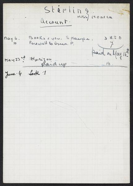 Monica Stirling 1940 card