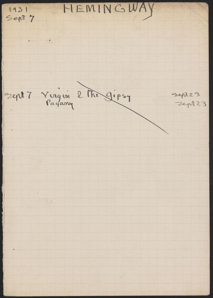 Ernest Hemingway 1931 card (large view)